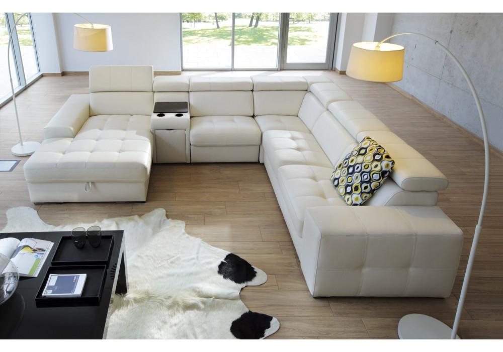 Gala Girro moduláris kanapé fehér bőrrel