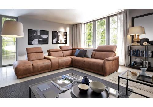 Gala Calpe moduláris kanapé barna bőrrel