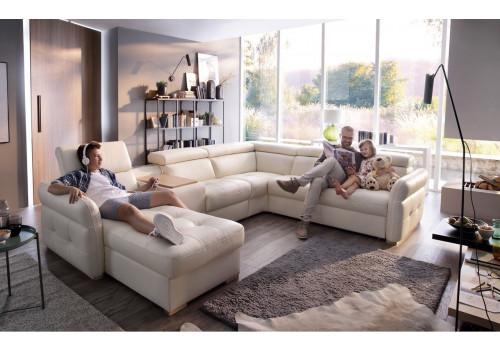 Gala Massimo moduláris kanapé fehér bőrrel